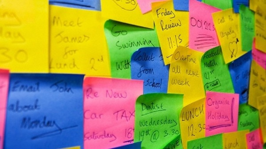 Sticky Note Overload --- Image by © Paul Hardy/Corbis
