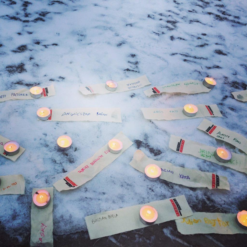 dettaglio cerimonia di commemorazione delle vittime dei campi di sterminio